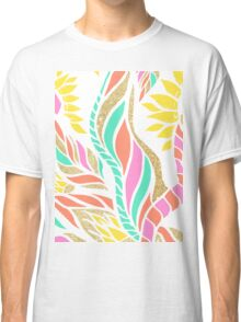 Summer bright modern coral gold turquoise floral  Classic T-Shirt