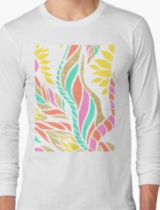 Summer bright modern coral gold turquoise floral  Long Sleeve T-Shirt