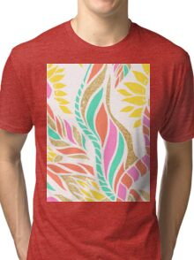 Summer bright modern coral gold turquoise floral  Tri-blend T-Shirt