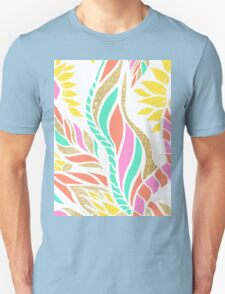 Summer bright modern coral gold turquoise floral  Unisex T-Shirt