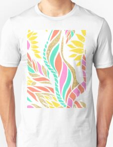 Summer bright modern coral gold turquoise floral  T-Shirt