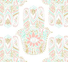Modern girly pink mint gold Hamsa hand of fatima by GirlyTrend