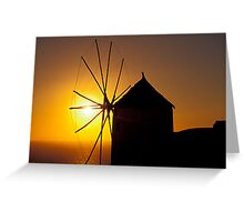 Windmill at Sunset, Santorini (Greece)  Greeting Card