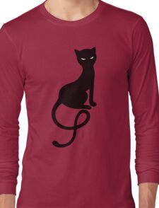 Red Textured Gracious Evil Black Cat T-Shirt