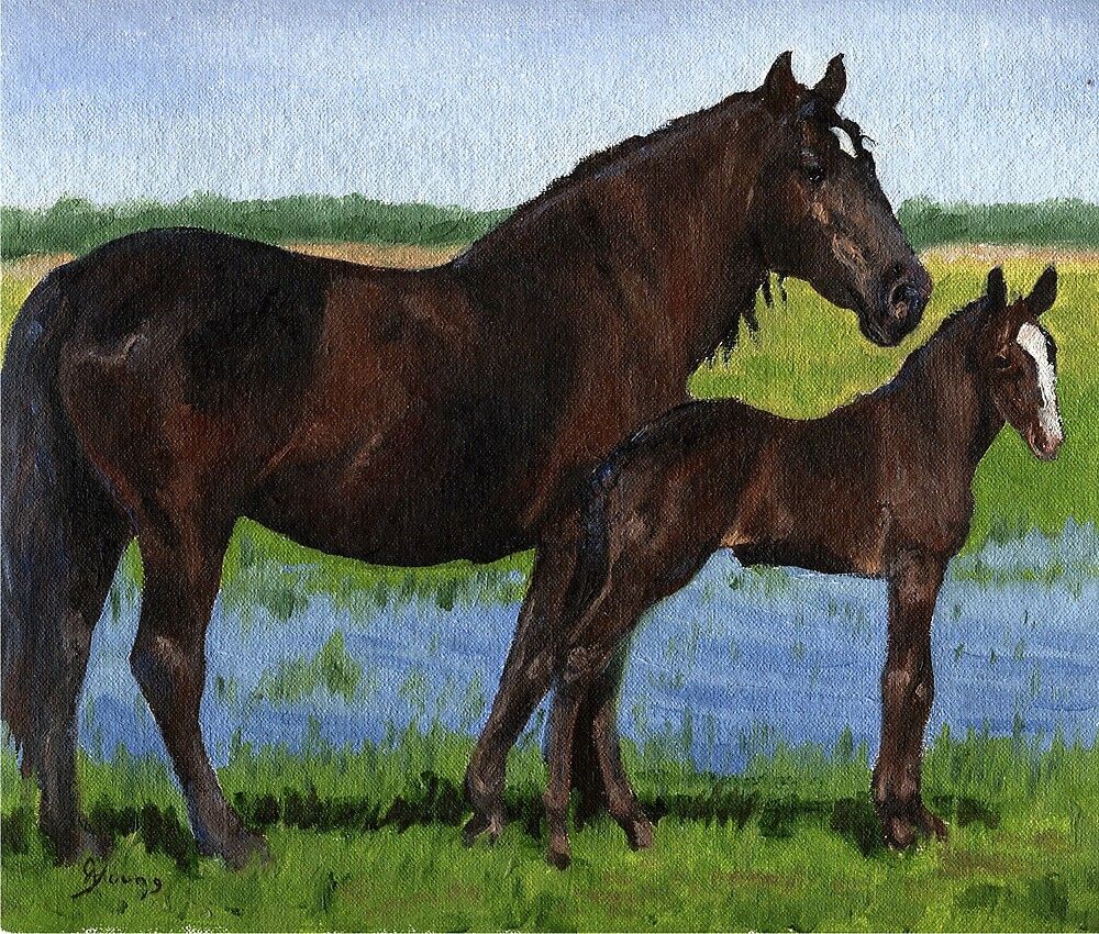 Percheron Mare and Foal Portrait by Oldetimemercan