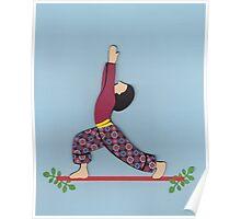 Ardha Virabhadrasana - HALF WARRIOR yoga posture Poster