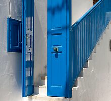 Blue Facade To White Steps by phil decocco