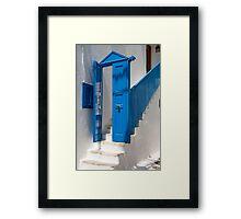 Blue Facade To White Steps Framed Print