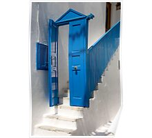 Blue Facade To White Steps Poster