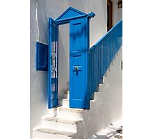 Blue Facade To White Steps Photographic Print