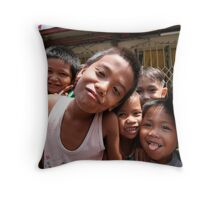 children of the philippines: smiles, strength and poverty Throw Pillow