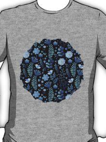 Vintage floral pattern on a black background T-Shirt
