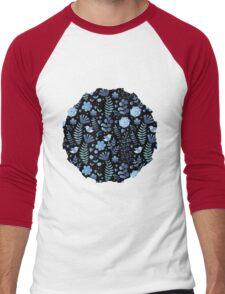 Vintage floral pattern on a black background Men's Baseball ¾ T-Shirt