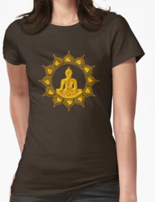 Buddha Meditation, Lotus Flower, Anahata, Heart Chakra Womens Fitted T-Shirt