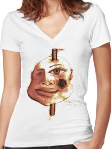 Pole Face Women's Fitted V-Neck T-Shirt
