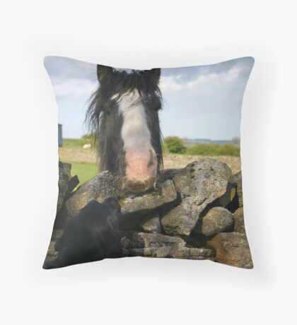Holly and the horse with the handlebar moustache Throw Pillow