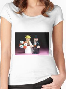 Lego Bride and Groom ( with top hat ) Women's Fitted Scoop T-Shirt