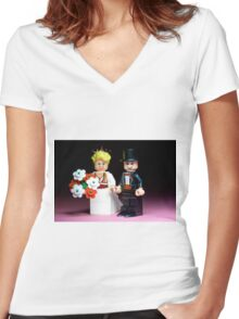 Lego Bride and Groom ( with top hat ) Women's Fitted V-Neck T-Shirt