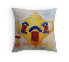 Big Yellow Teapot- vintage painting Throw Pillow