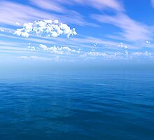 Blue Ocean Puffy Clouded Blue Sky by futureimaging