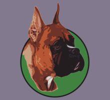 BOXER DOG PORTRAIT GREEN Kids Tee