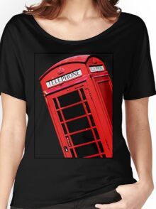 Red British Phone box Women's Relaxed Fit T-Shirt