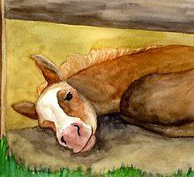 Palomino Quarter Horse Foal Portrait by Oldetimemercan