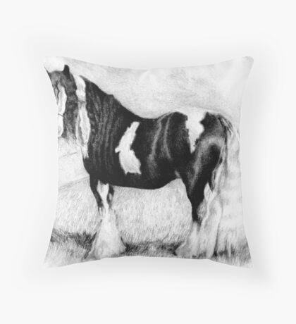 Gypsy Cob Horse Portrait Throw Pillow
