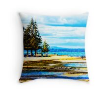 Altona Beach with The Dandenongs in the Distance Throw Pillow