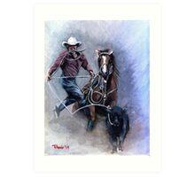 Calf Roper Quarter Horse Portrait Art Print