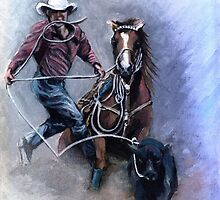 Calf Roper Quarter Horse Portrait by Oldetimemercan
