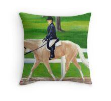 Palomino Quarter Horse Hunt Seat Portrait Throw Pillow