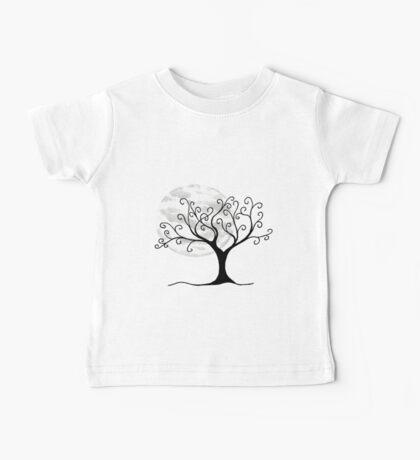 Swirly Tree and Moon - Simple and fun Baby Tee