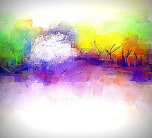 Trees in Purple, Yellow, and Green by Jessielee72