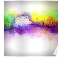 Trees in Purple, Yellow, and Green Poster