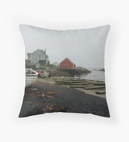 Foggy day, Peggy's Cove Throw Pillow