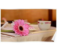 Flower at place setting. Poster