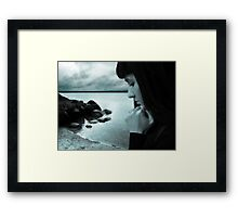 Rain storm and sad girl Framed Print