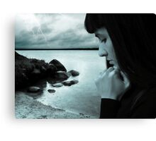 Rain storm and sad girl Canvas Print