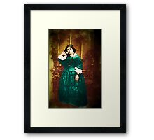 Vintage Victorian Woman in Green Framed Print