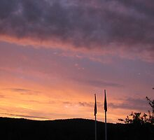 Colorful sunset with flags by LeeHicksPhotos