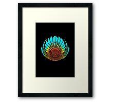 Mayan mask, crop circle, Quetzalcoatl Framed Print
