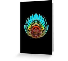 Mayan mask, crop circle, Quetzalcoatl Greeting Card