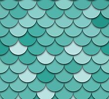 Teal Fish Scale by ozdesign
