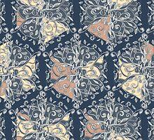 Organic Hexagon Pattern in Soft Navy & Cream  by micklyn