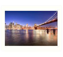 City Nights - Brooklyn Bridge & Manhattan Skyline Art Print