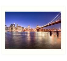 City Nights - Brooklyn Bridge & Manhattan Skyline Art Print
