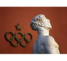 Athlete Statue and Olympic Rings, Foro Italico, Rome Photographic Print
