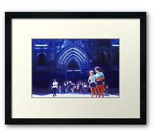 Vintage Cathedral in Blue Framed Print