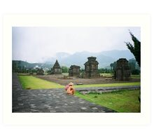 A Dieng  local  ponders  the ancient temples of java Art Print